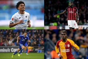 Clockwise from top left: Reiss Nelson at Hoffenheim, Tiemoué Bakayoko with Milan, Henry Onyekuru of Galatasaray and Harry Arter of Cardiff.