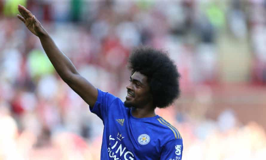 Leicester City's Hamza Choudhury celebrates after the final whistle.