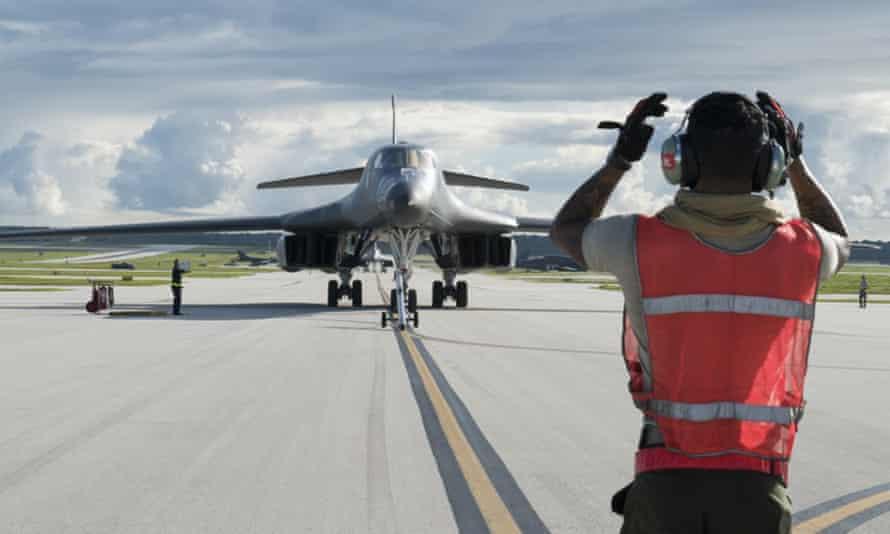 A US air force B-1B Lancer arrives in Guam