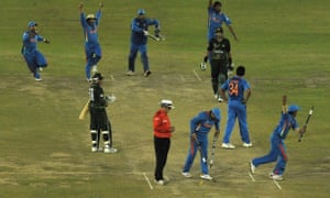India celebrate beating Pakistan during the 2011 Cricket World Cup semi-final.