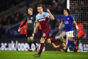 West Ham United's Mark Noble celebrates scoring his side's first goal of the game from the penalty spot.