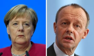 Angela Merkel and the current frontrunner to replace her, Friedrich Merz.