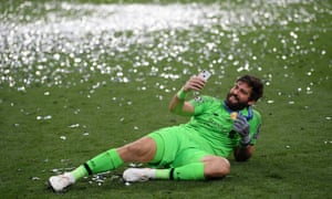 Alisson speaks to his pregnant wife, who was in Brazil, after the Champions League final.
