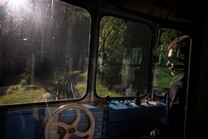 A man drives the historical train from Chamonix to Montenvers station near the Mer de Glace glacier