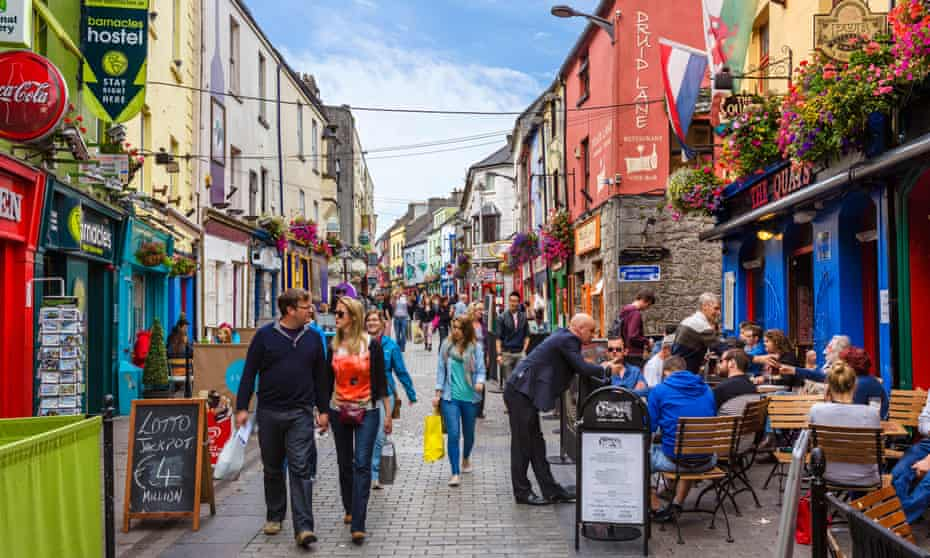 Pubs, restaurants and shops on Quay Street, Galway, Ireland.