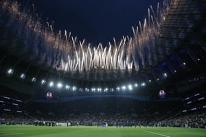 Fireworks are seen during the opening ceremony of the Tottenham Hotspur Stadium prior to Spurs' victory over Crystal Palace.