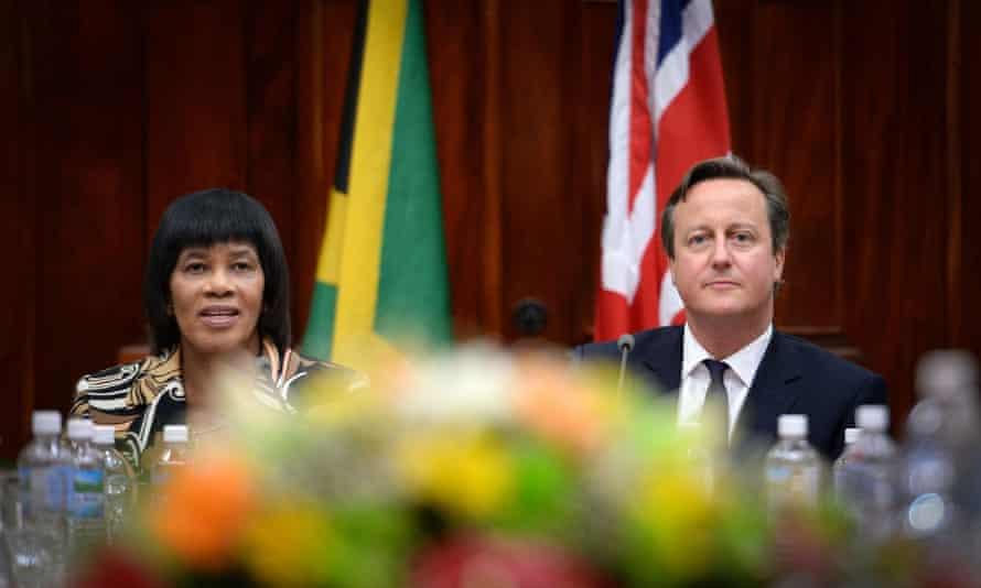David Cameron with Jamaica's prime minister, Portia Simpson-Miller