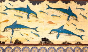 Dolphin fresco in the Queen's Megaron, Knossos Palace, Crete.