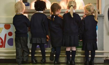 Schoolchildren queuing for toast