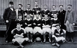 Formed by workers of JT Morton's canning and preserve factory, Millwall Rovers played north of the river on the Isle of Dogs. Spot the odd one out in this 1895 team photo.