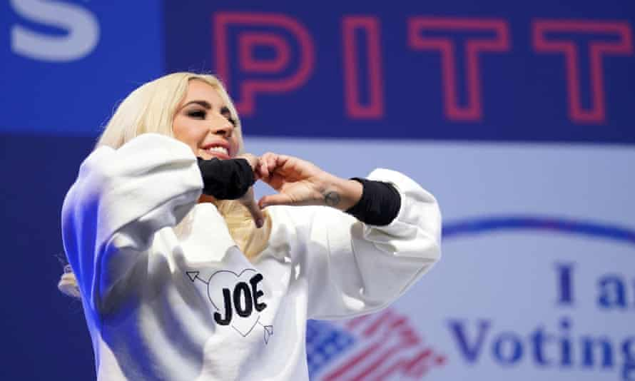 Lady Gaga makes a heart gesture as she performs at a Biden-Harris campaign rally in Pittsburgh, Pennsylvania, on 2 November 2020.