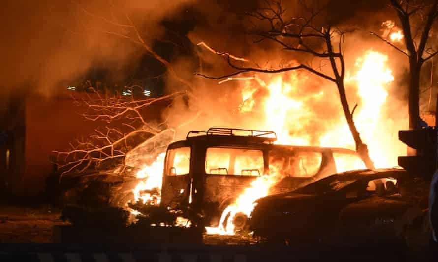 Pictures of the aftermath of the explosion in the car park of a luxury hotel in Quetta, Pakistan.