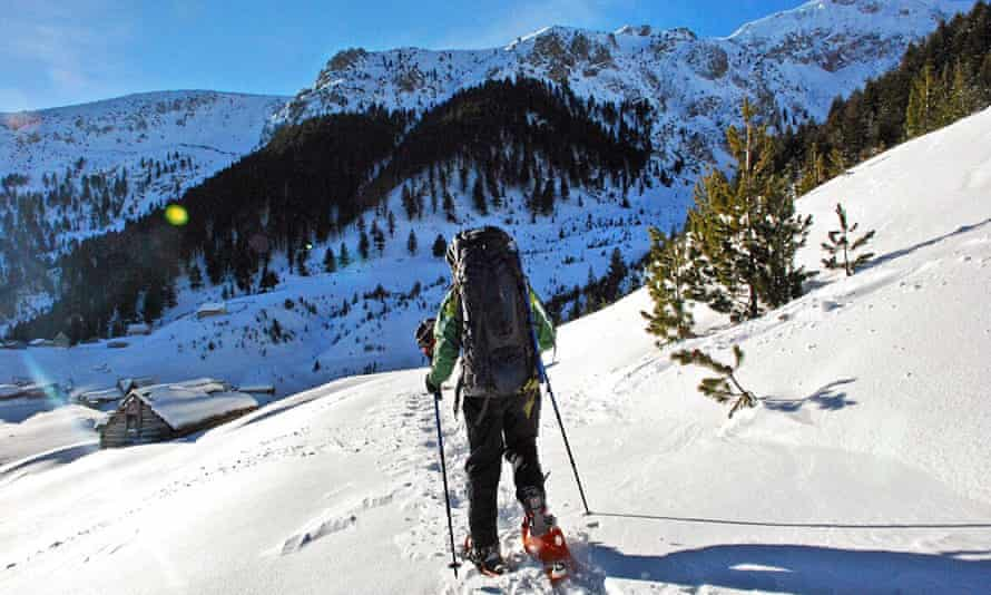 Snowshoeing in Kosovo with Butterfly Outdoor Adventure.