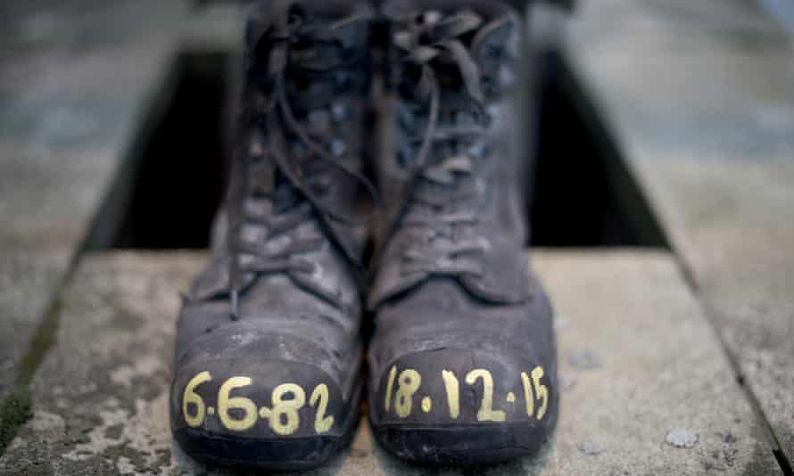 A pair of miner's boots are left outside Kellingley colliery.