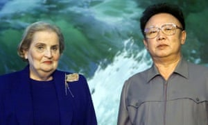 """North Korean leader Kim Jong Il, and secretary of state Madeleine Albright meet in Pyongyang in 2000, during a period of """"thaw"""" between the countries."""