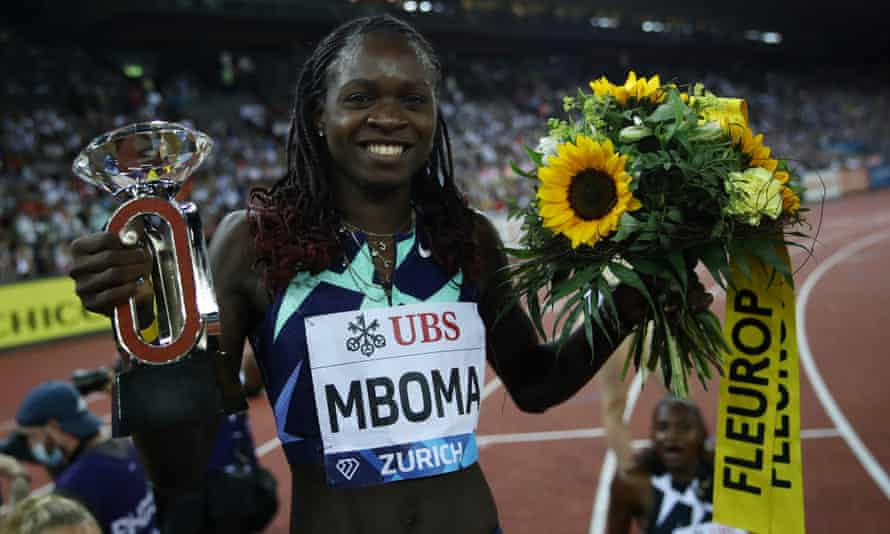Christine Mboma of Namibia celebrates winning the women's 200m during the Weltklasse in Zurich.