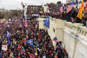 Pro-Trump mob gather in front of the US Capitol.