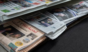 Newspapers for sale in a newsagents