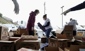 Volunteers at a food bank in San Francisco in March 2020.