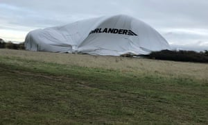 The collapsed Airlander 10 airship at Cardington airfield.