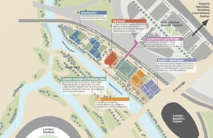 Map of the planned East Bank development.