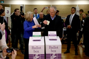 The incumbent prime minister, Malcolm Turnbull, casts an early vote with his wife, Lucy, at Double Bay public school in his Sydney electorate of Wentworth