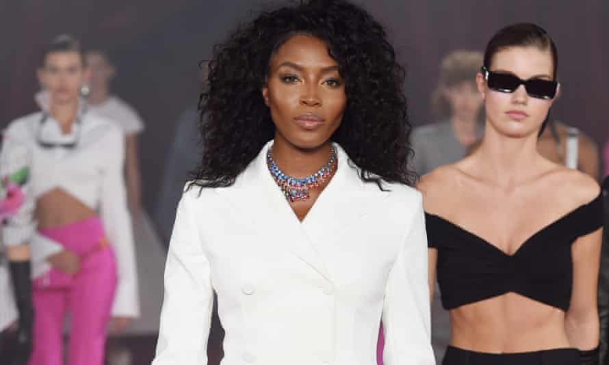 Naomi Campbell on the catwalk of the Off-White show, Spring Summer 2018, Paris Fashion Week.