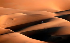 Abu Dhabi: An Emirati youth plays in the sand dunes in the Liwa desert, about 150 miles west of the Gulf emirate of Abu Dhabi