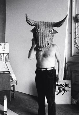 Femme Debout, 1959. Picasso depicts the minotaur in a mask designed to be worn by trainee bullfighters. Beside him is a sculpture made of scrap wood with facial features.