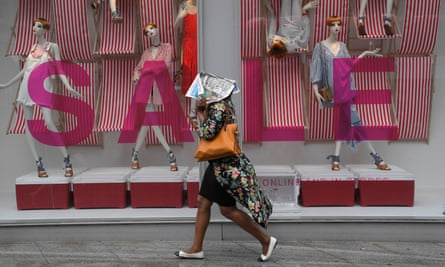 A shopper on London's Oxford Street.
