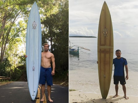 Left, a picture of surfer Doug Falter posing with his surfboard in Hawaii in 2015, and right, a picture taken in 2020 showing Branzuela posing with the same surfboard on Sarangani island in the Philippines