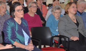 Cathy McGowan (left) the Independent MP for Indi and her Liberal party opponent, Sophie Mirabella (far right), at the opening of a new wing of the Cooinda Village nursing home in Benalla in rural Victoria.