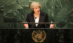 Theresa May speaks to the UN general assembly.