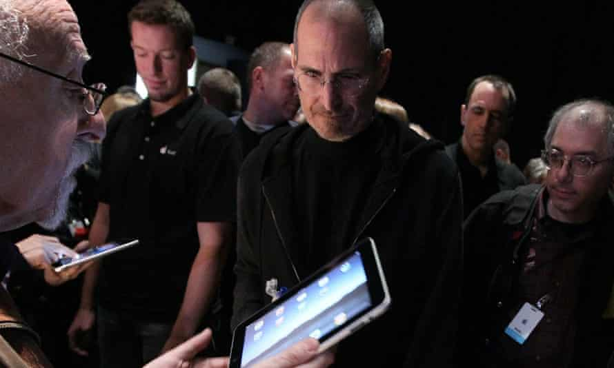 Steve Jobs at the launch of the iPad in San Francisco, 2010.
