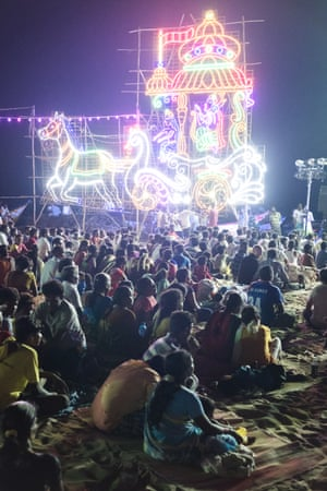 Mahabalipuram festival. Hindu deities depicted in towering neon line the waterfront and light up the crowd that has come to see music and dance performances at a small festival. Events such as these pepper the calendar, while the addition of surfing and pilgrimages to the Unesco world heritage monuments  mean that the town is always abuzz.