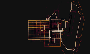 A heatmap showing the outlines of a military base in Helmand Province, Afghanistan.