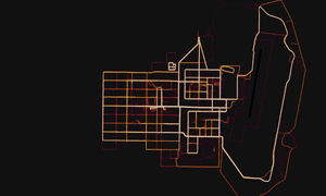 A military base in Helmand Province, Afghanistan with route taken by joggers highlighted by Strava.