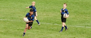 Having previously been taught the basics of catch, pass and run, children between eight through to 10 are introduced to tackling, and then uncontested scrums and lineouts.