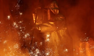 A steel worker of Germany's industrial conglomerate ThyssenKrupp at a blast furnace at Germany's largest steel factory in Duisburg.