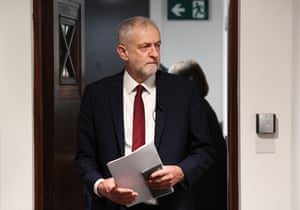 Labour leader Jeremy Corbyn arrives at Savoy Place in London, England, to deliver a speech