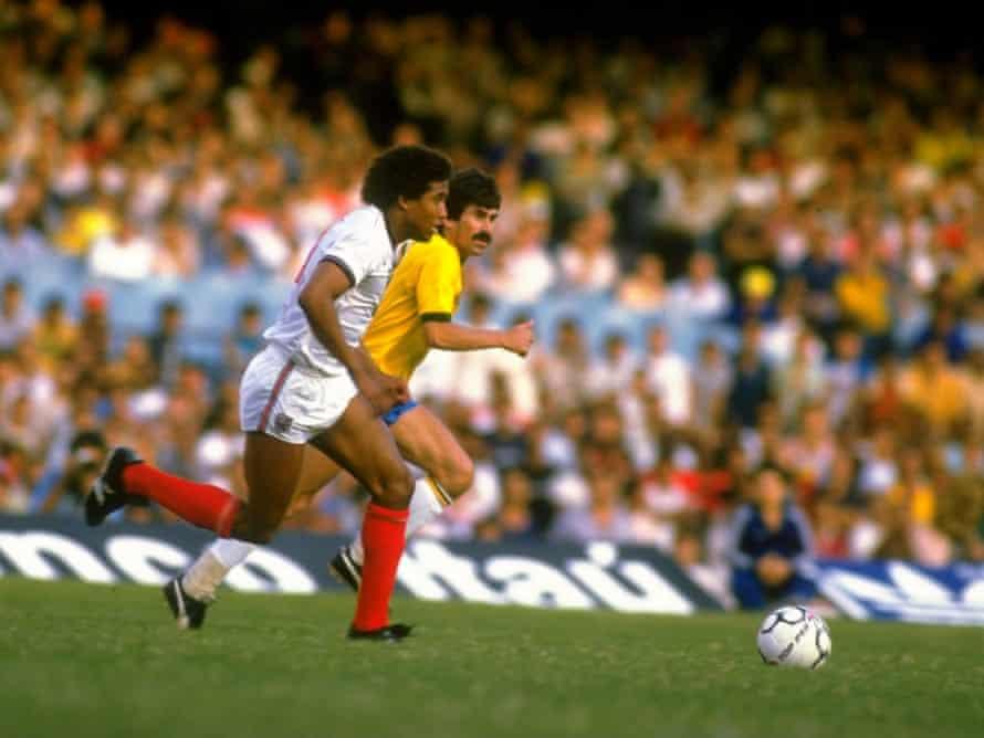 John Barnes heads for goal against Brazil in 1984