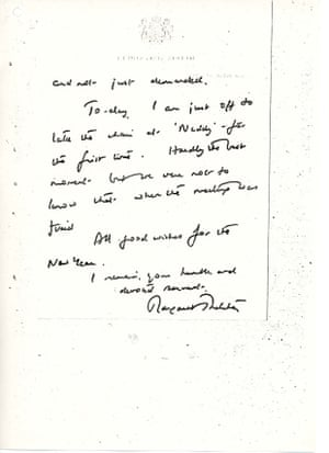 Letter from Margaret Thatcher to Princess Margaret