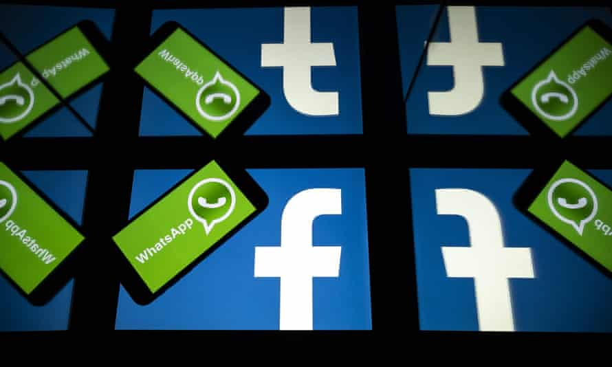 Facebook and WhatsApp logos on a smartphone and a tablet