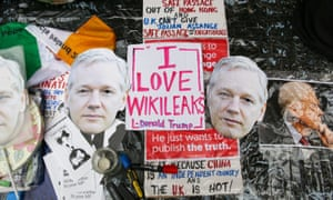 Signs and placards outside the Ecuadorian embassy in London