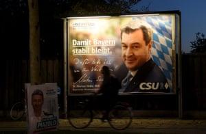 The Bavarian premier, Markus Söder, seen on an election poster in Munich