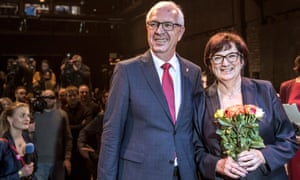 Presidential candidate Jiri Drahos with his wife Eva Drahosova after winning 26.6% of the vote on Saturday.