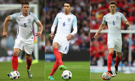 Defenders of the faith: England have taken only three recognised centre-backs to France, left to right: Gary Cahill, Chris Smalling and John Stones.