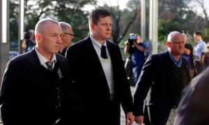 Jason Van Dyke on his way to court on Monday. The graphic video – released the day Van Dyke was charged – led to months of protests and political upheaval.