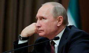 Vladimir Putin at his press conference in Ankara