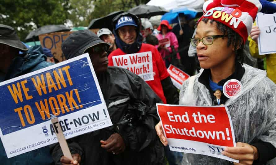 Federal employees protest against the last government shutdown in October 2013 in Washington DC.